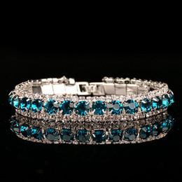 2019 corsage armbänder großhandel Luxus-Hochzeits-österreichische Kristallarmbänder für Frauen-Charme-Grün-purpurrote weiße Diamant-Armband-Armband-Schmucksachen