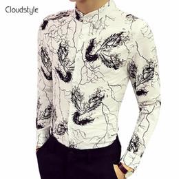 Wholesale Turndown Collar Dress Shirt - Cloudstyle 2018 Male Shirts Fashion Black Bird Print Turndown Collar Casual Single Breasted Lingting Print Long Sleeve Shirts