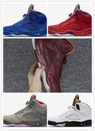 Wholesale rubber field - 2018 New air 5 V Olympic bordeaux OG Black metallic Gold field Men Basketball Shoes camo grey red blue Suede Sport Sneakers 8-13