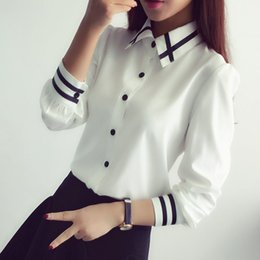 Wholesale wholesale white button down shirts - Jlong 2018 New Fashion female elegant bow tie white blouses Chiffon turn down collar shirt Ladies tops school blouse Women Z1