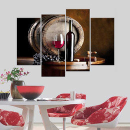 Wholesale Canvas Kitchen Wall Art - Rushed Modern Bar Dining Room For Creative Mural Simple Unframed Canvas Paintings Kitchen Fruit Grape Wine Design Wall Art