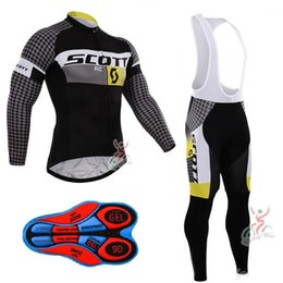 Wholesale Scott Pants - Scott 2017 Pro team cycling jersey Maillot ciclismo cycling clothing ropa ciclismo long sleeve bike clothing Bib Long Pants Set