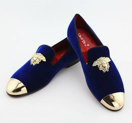 Wholesale Shoes Velvet Slippers - Handmade Embroidery Queen Metal Men Velvet Loafers Casual Flats Shoes Mens Smoking Slippers Wedding Party Dress Shoes Prom Plus Size 46 47