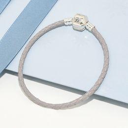 leder-logo-armbänder Rabatt Luxury Fashion Classic design Frauen männer Grau Leder Seil Hand Kette Armbänder Logo Box für Pandora 925 Silber Charms Armband