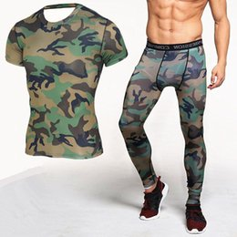 57ce15619d485 camouflage spandex leggings Canada - T Shirt + Leggings Camouflage  Compression Shirt Short Sleeve Fitness Sets