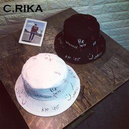5499b1b8b03 2018 Summer Hip Hop bucket hat Embroider Letter Couples Sun Fishing Hats  for Men Women bucket hat