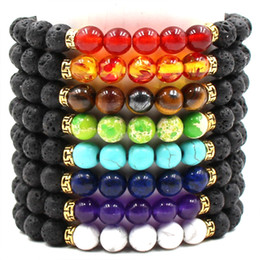silicone beaded bracelets Coupons - Fashion Natural Black Lava Stone 7 Chakra Bracelet Essential Oil Diffuser Bracelet Volcanic Rock Beaded Bracelets