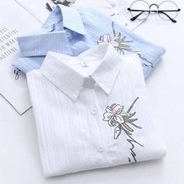 Wholesale Womens Office Blouse - 2018 New Spring Flower embroidery Female Shirt Long Sleeve Ladies Office Shirt Summer floral blouse womens tops and blouses