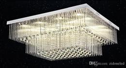 Nuevo rectángulo moderno de cristal luz de techo 2 capas K9 bola de cristal Tubo de vidrio accesorio de iluminación de techo para sala de estar dormitorio desde fabricantes
