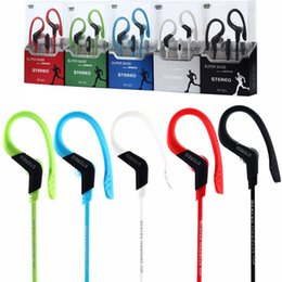 Wholesale music hooks - Sports headphones earphone with mic Running in ear earhook Music Stereo Headset Sports-Fi Universal earphones Black White Blue Red Green