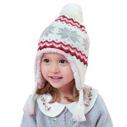 Nouveau Automne Hiver Bébé Chaud Crochet Tricot Chapeau Enfants Peluche  Bonnets Cap Toddler Enfants Cartoon Chapeaux Filles Garçons Coton Earflaps  Cap c969cba9cd1