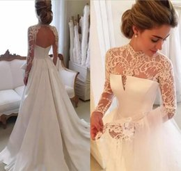 Wholesale High Collar Wedding Dresses - 2018 Gorgeous Long Sleeve Wedding Dresses With Sheer Neck Jewel Sexy Open Back Bridal Gowns Satin Vintage Wedding Dress Lace Top Cheap