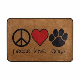 Wholesale Modern Mark - Floor Mat Cute Marks of Peace Love& Dogs Welcome Doormat Anti-slip Mat for Bathroom Quick-drying Water Absorption Diatomite Rug