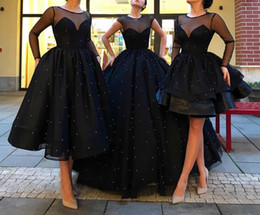 Wholesale Graceful Dresses - Three Kinds Of Styles Ball Gown Black Pearls Sheer Tiers Custom Made Graceful Evening Dress Evening Gown