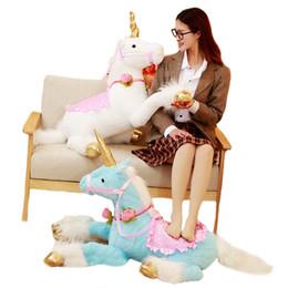 meninas de jogos de animais Desconto 100 cm Enorme Bonito Unicorn Horse Plush Toys Colorido Stuffed Animal Boneca para Crianças Dos Miúdos Presente de Aniversário Criativo para As Meninas
