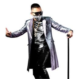 Hombres hechos a medida Moda Trench Abrigo Largo Slim Fit Chaqueta Traje  Masculino Hip Hop Bailarín Cantante Etapa Brillante Traje rebajas bailarín  de moda ... b538395e5eb