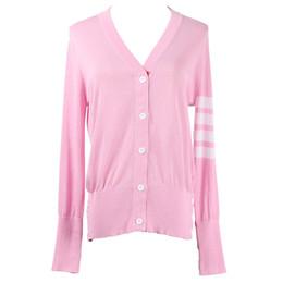 Cardigans de punto mujer primavera otoño manga larga con cuello en v  mujeres suéter cardigan mujeres solo botón de pecho suéter rosa df31771de23fe