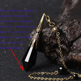 cristallo sfaccettato nero Sconti 1Pc Smooth Faceted Natural Black Ossidiana Crystal Dowsing Pendulum Reiki Charged Bead End New Age Divination Tool Rimuove le energie negative
