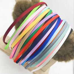 diy fita rosa headband Desconto Fita de cetim coberto de Metal liso Headbands Satin Ribbon Forrado headbands de Metal Coberto headband 5mm
