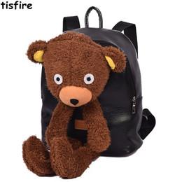 Wholesale Plush Bear Backpack - cute backpacks for teenage girls fashion designer leather backpack school bag Plush bear cartoon backpack funny Children bagpack