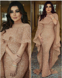 Wholesale Evening Long Sleeves Winter Dress - 2018 Bling Mermaid Evening Dresses with Long Cape Glitter Glued Lace Illusion Arabic Middle East Custom Made Plus Size Trumpet Prom Gowns