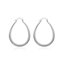 Pendientes ovalados online-Joyería de las mujeres Pendiente de moda 925 Sterling Silver U forma Earrins Oval Hoop Earrings moda joyería popular E080