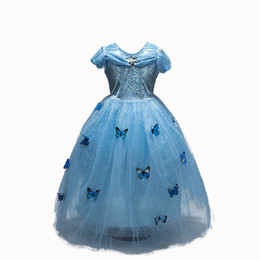 Wholesale party fantasia - New Girls Dresses Cinderella Dress Princess Movie Cosplay Party Dress fantasia Cinderella Costumes For Children Kids Clother