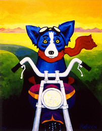 Wholesale Dog Frames - George Rodrigue Animal Blue Dog Riding A Motorcycle,Oil Painting Reproduction High Quality Giclee Print on Canvas Modern Home Art Decor