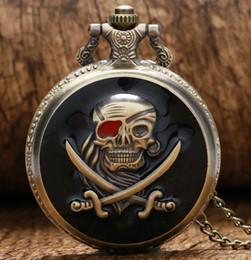 Antique Bronze Steampunk Quartz Pocket Watch Pirate Skull Head Horror With Chain Men Women Pendant Necklace For Gift Pb616 Watches