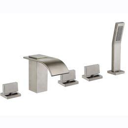 Водолазные щетки онлайн-Ванная комната ванна кран водопад кран с керамическим клапаном никель матовый цвет с керамическим клапаном три ручки пять отверстий 5 лет гарантии