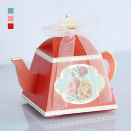 Wholesale Candy Bags For Wedding Shower - 5PCS Set Teapot Wedding Gifts For Guests Gift Box Paper Box Baby Shower Vintage Packaging Candy Bags Souvenirs S2