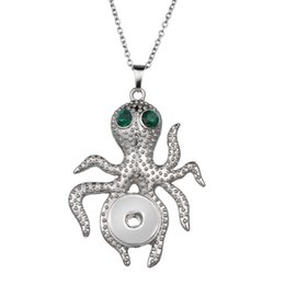 Wholesale Octopus Pendant Necklace - Fashion Metal Octopus Snap Necklace & Pendant Jewelry Woman Cross Bow Tie DIY Statement Jewelry Drop Shipping