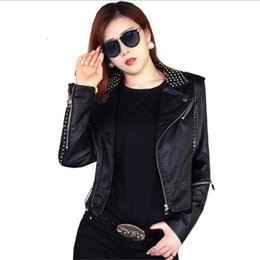 Wholesale Leather Jacket Studded - Wholesale- Black Leather Jacket Women Punk Rivets Studded Motorcycle Spiked PU Fake Sheepskin Leather Jackets Cazadora Cuero Mujer
