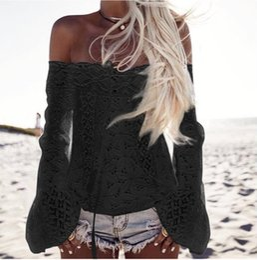 Wholesale Black Lace Shirt Chiffon Blouse - Slash Neck Strapless Lace Hollow Shirt Long Sleeve Spring Women Slim Flare Sleeve Blouse Fashion Shirts