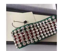 Wholesale elastic headbands for women - Designer Full Rhinestone Elastic Headband Best Quality Luxury Brand Green with red Striped Hair bands For Women Girl Retro Headwraps Gifts