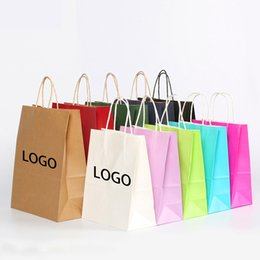 Wholesale Paper Bags Logo - 10colors 6 sizes kraft paper gift bag with handleopping bags Christmas brown packing bag Excellent quality custom logo