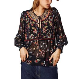 83fe4f8825 Floral Print   Embroidered Blouse Top Spring Autunm Lace Tied Up Long Sleeve  Tassel Black Mesh Sheer Sexy Boho Chic Blouse Women