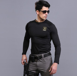 Wholesale Gymnastics Wear - 2018 Tactical training speed dry long sleeve T shirt Bodybuilding polo gym gymnastics wear body stretch suit