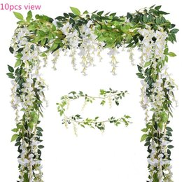 Wholesale Pink Silk Wedding Flowers - 2PC Artificial Flowers 6.6ft Silk Wisteria Ivy Vine Hanging Garland Wedding Party Supplies Christmas Home Garden Decoration Fake Flowers