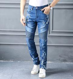 Wholesale Wear Jeans - Men's self-cultivation high-quality brand design jeans new men's stretch jeans new men wear stripes denim United States size 30 ~ 40
