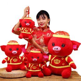 Ano novo Vermelho Porco Brinquedo De Pelúcia China Vestido Mascote Porco Boneca Kawaii De Pelúcia Crianças Presente de Aniversário Das Crianças Presentes Festival 25/30/40 cm de