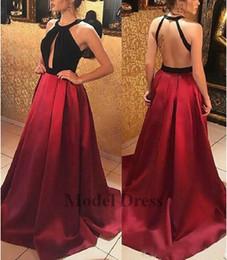 2018 Una Línea De Vestidos Largos De Baile 2018 Sexy Backless Negro Y Rojo Satinado Formal De Noche Vestidos De Fiesta Para La Fiesta De Graduación