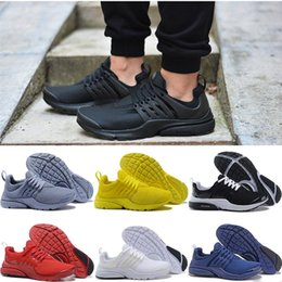 Wholesale Cheap Womens Designer Shoes - 2018 Designer Mens Presto Running Shoes BR QS Triple White Black Yellow Cheap Womens Breathable Casual sports Trainers Sneakers Size 5.5-11