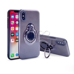 Wholesale Double Rose Rings - Hybird Armor Shockproof Ring Finger Holder Kickstand Double Layer Protection Cover Case For iphone X 8 7 6s 6 Plus Opp bag