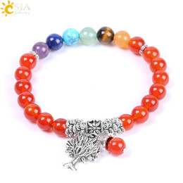 Wholesale 14k Gold Onyx Ring - CSJA 7 Chakra Healing Balance Beaded Bracelet Multi-color Natural Stone Red Onyx Bracelets Silver Color Tree of Life Pendant Jewelry F123