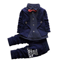 Wholesale Zebra Birthday - 2018 Baby boy clothes spring formal kids clothes suit 2Pcs boys sets set Baby born gentleman toddler boy clothes birthday dress