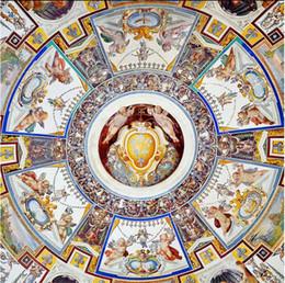 Murais de anjo on-line-Papel de parede para a pintura Anjos Anunciação Zenith murais 3d Murals teto papel de parede
