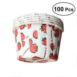 Muffins baby shower en Ligne-100pcs Cupcake Wrappers Doublures à Muffins Étoile Dot Fraise Modèle De Cuisson Tasses Cupcake Cas pour Baby Shower Anniversaire 68x68x39cm