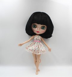 Wholesale Change Hair - Blygirl Blyth doll Black bangs straight hair mushroom head nude doll 30cm joint body 19 joint DIY can change makeup