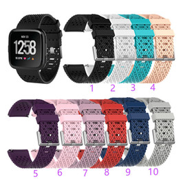 smart watch accessories wholesale Coupons - For Fitbit Versa Lite Sport Mesh Strap Smart watch bands Silicone TPU Bracelet Fashion Breathable design wrist band Smart accessories